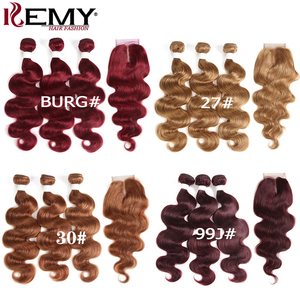 Image 5 - 99J/Burgundy Body Wave Human Hair Bundles With Closure 4x4 KEMY HAIR Brazilian Hair Weave Bundles With Lace Closure Non Remy