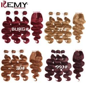 Image 5 - 99j/borgonha onda do corpo pacotes de cabelo humano com fechamento 4x4 kemy cabelo brasileiro tecer pacotes com fechamento do laço não remy