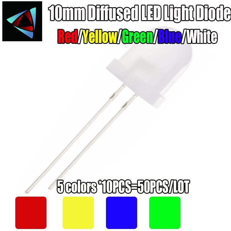 Набор диодных рассеянных светодиодов 10 мм, комплект из 50 светодиодов (5 цветов x 10 шт.), 3 в, светоизлучающие белые, зеленые, красные, синие, желт...
