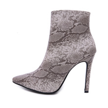 Sexy Women Winter warm snow Boots Snake Platform zipper 10.5CM High Heels pumps dress Ankle Martin Boots shoes Woman boots mujer fedonas new warm autumn winter snow shoes woman high heels zipper short martin boots retro punk motorcycle boots 2019 new shoes