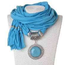tassel polyester scarf classic double row diamond round pendant jewelry women 180x40cm