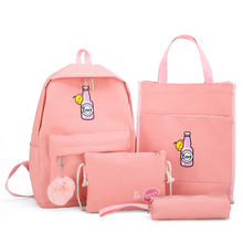 4pcs/set Women School Back Pack Canvas Backpack For Teenager