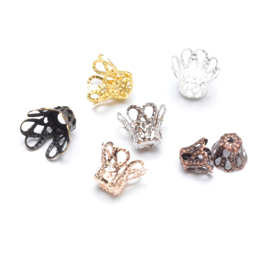 Jewelry DIY Vintage Filigree Metal Cup Hollow Flower Spacer Beads End Caps Pendant DIY Charms Connectors Jewelry Finding