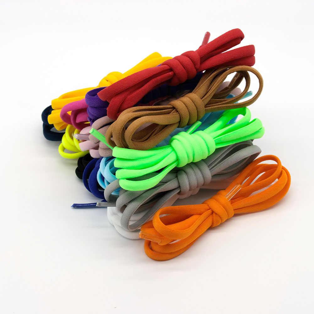1 par de nuevos Cordones elásticos para zapatos redondos sin cordones para niños y adultos, zapatillas con cordones para perezosos, 16 colores