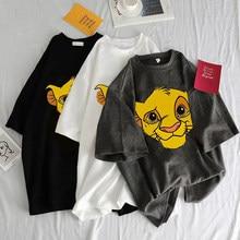 T-shirt manches courtes col rond femme, esthétique, Harajuku, mignon, imprimé de dessin animé, roi Lion