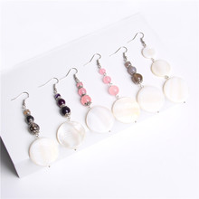 New Arrival Shell Pearls Drop Earrings Women Fashion White Mother Of Pendant Natural Botswana Agates Jewelry