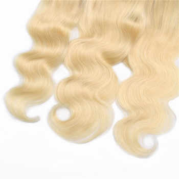 Bling Hair Brazilian Body Wave Lace Frontal Closure 13*4 Middle/Free/three Part with Baby Hair 100% Remy 1b/613 Blonde Color