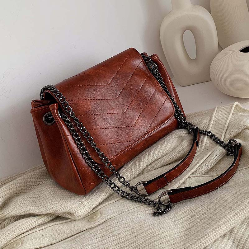 Solid Color Chain PU Leather Shoulder Bags For Women 2020 High Quality Crossbody Messenger Bag Lady Handbags Hand Bag