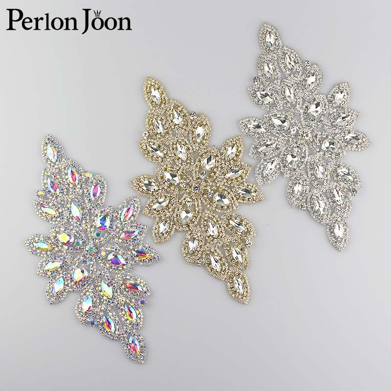 7.2*3.15 inch ab color Crystal applique Rhinestone patch decoration for the wedding dress sewing Clothing Accessories YH Z001(China)