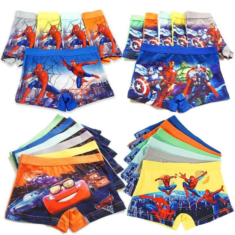 3 шт./лот, трусы-боксеры для мальчиков с рисунком Мстителей, машин, Человек-паук, трусы для детей, Трусы-брифы для подростков
