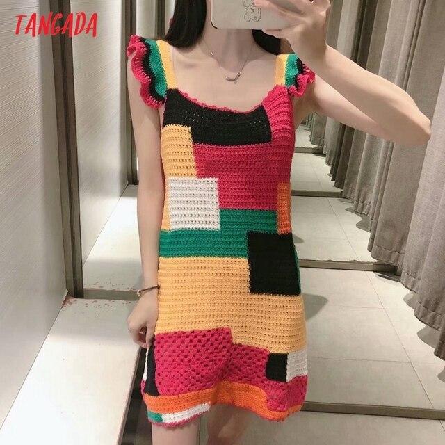 Tangada Women's Summer Dress Fashion Patchwork Crochet Dresses Ruffles Female Casual Beach Dress 3H771 2