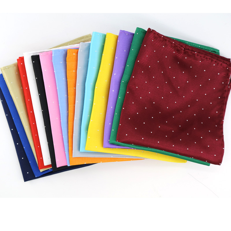 Men's Pocket Square Fashion 25CM Handkerchief Polka Dot Solid Hanky Men Suit Chest Towel Accessories For Business Wedding Party