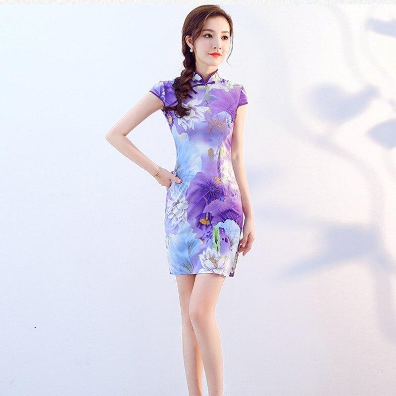 Sheng Coco Women Purple Chinese Dresses Printing Mini Chipao Qi Pao XXL Spandex Shanghai Style