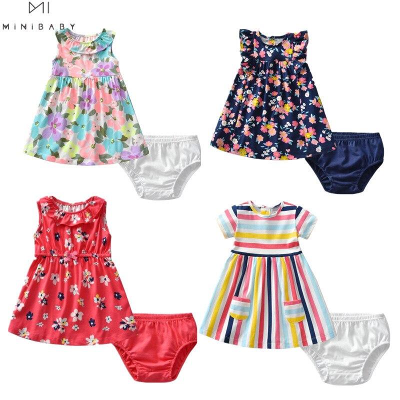 Marca 2020 ropa de verano para niñas vestido de flores + Pantalones cortos 2 uds traje de 100% de algodón 1-3 T ropa para niños 6 colores Niñas Ropa Infantil