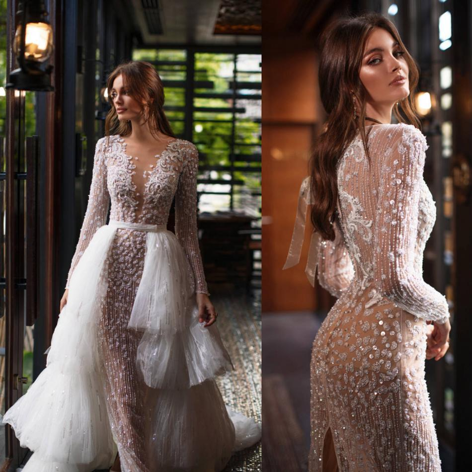 Luxury Tulle Wedding Dresses with Detachable Train Lace Sequined Arabia Mermaid Wedding Gowns Long Sleeves vestido de novia