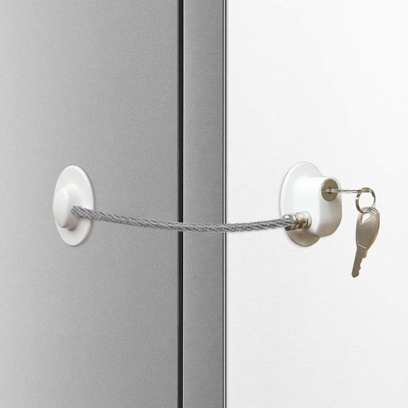 Kids Safety Shifting Door Lock Refrigerator Door Lock With Key Fridge Freezer Child Proof Children Safety Lock