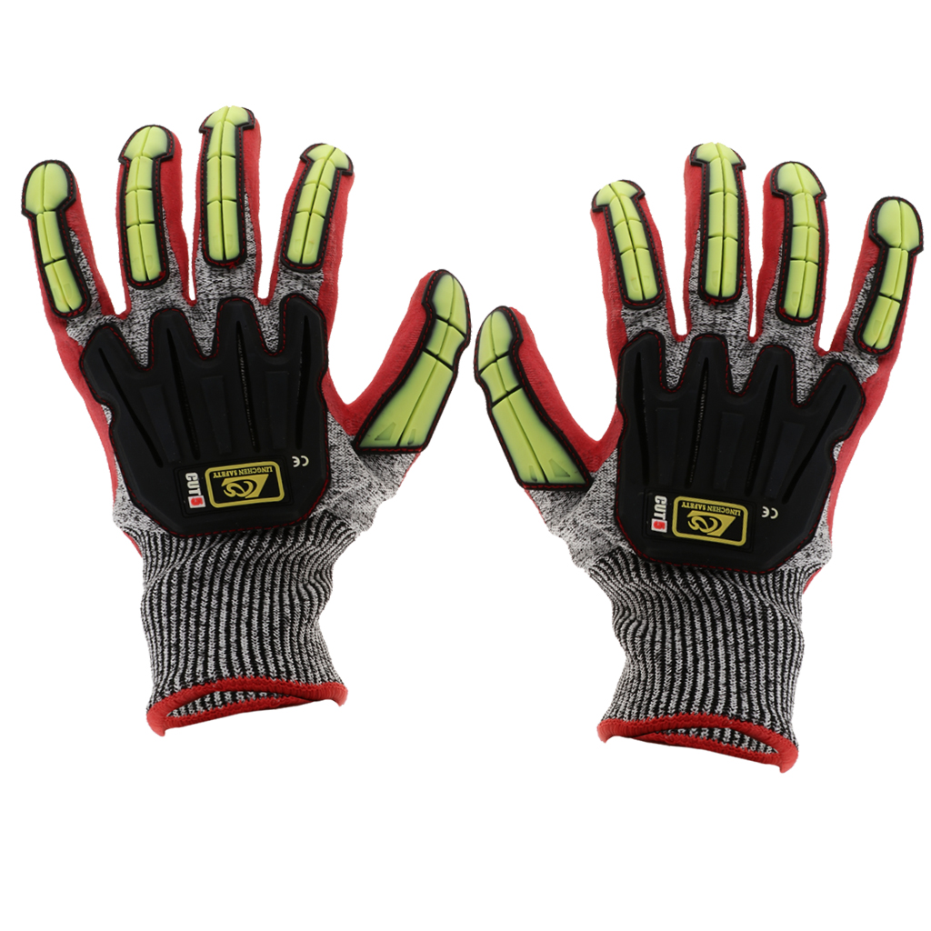Cut Impact Resistant Work Safety Gloves Anti-Vibration High Visibility Mitts Red/Black