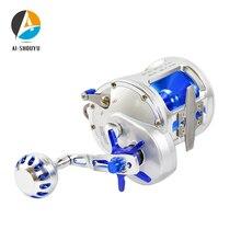 Roue de pêche de bateau en métal de AI-SHOUYU TR10000 roue de tambour de Troll de pêche de mer traînée maximum 30KG bobine de pêche anticorrosion pour le grand poisson