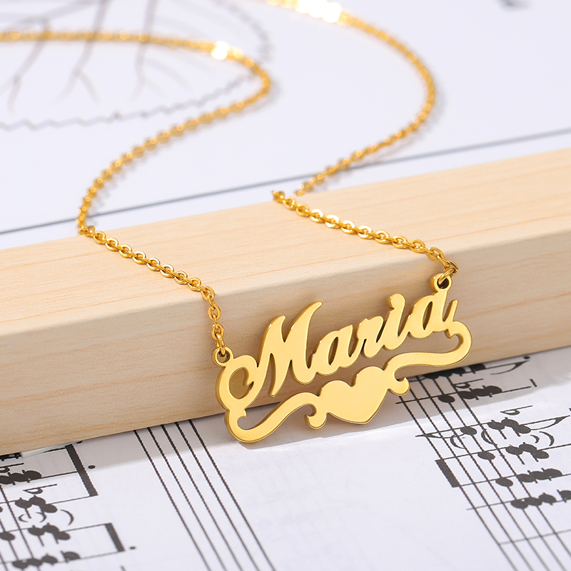 Handmade Custom Name Gold Stainless Steel Personalized Name Necklaces for Women Men Jewelry Filled Heart Statement Choker Bijoux