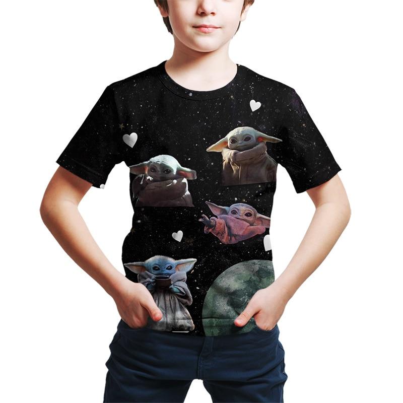 Детская футболка с 3D рисунком Yoda, забавная Одежда для девочек, костюм для мальчиков, детские летние топы 2021, рубашки для малышей с мандалориа...