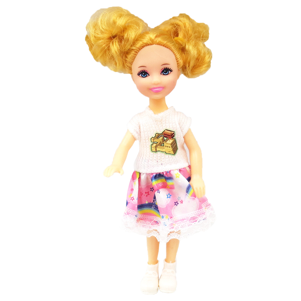 NK 1 Set Girl's Doll 5 Movable Jointed Mini Doll 14 Cm Cute Doll + Shoes+Outfit For Kelly  Doll Girls Gift Baby Toys 11A 1X