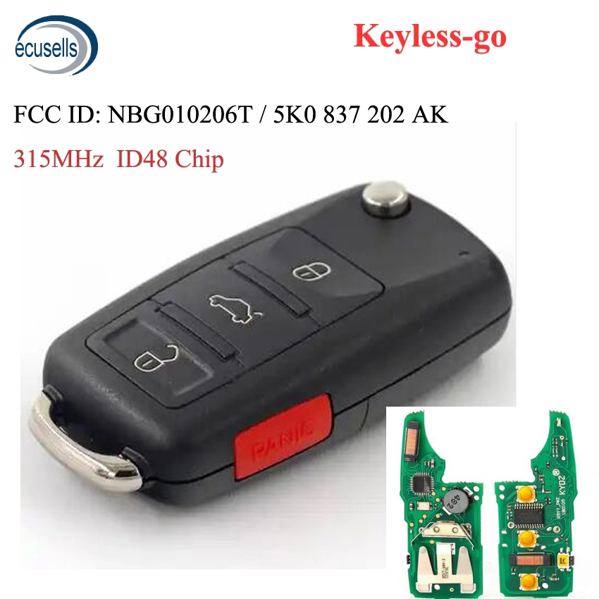 3+1/4 button Keyless go Remote Key 315MHz ID48 Chip Fob for Volkswagen 2011 2017 (Models with Prox) P/N: NBG010206T|Car Key|   - AliExpress