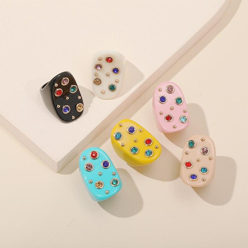 Guanlong moda acrílico coréia strass anéis para mulher 2021 resina grande cristal dedo anel meninas do vintage feminino punk jóias