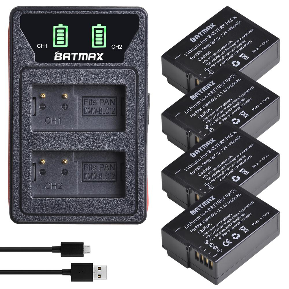 4X DMW-BLC12 BLC12E DMW BLC12 Battery +  LED USB Dual Charger For Panasonic Lumix FZ1000 FZ200 FZ300 G5 G6 G7 GH2 GX8