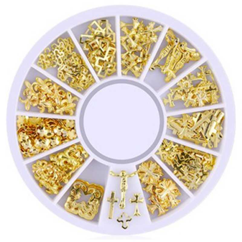 3D Hollow Nail Art Decoration Mixed Shapes Geometry Golden Tips Diy Nail Art Tools Fashion Nail Decorating Stickers Xy-09