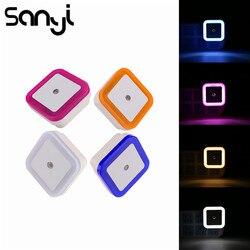 Sanyi luz sensor de controle luz da noite mini ue eua plug novidade quarto quadrado lâmpada para o presente do bebê romântico colorido luz da noite