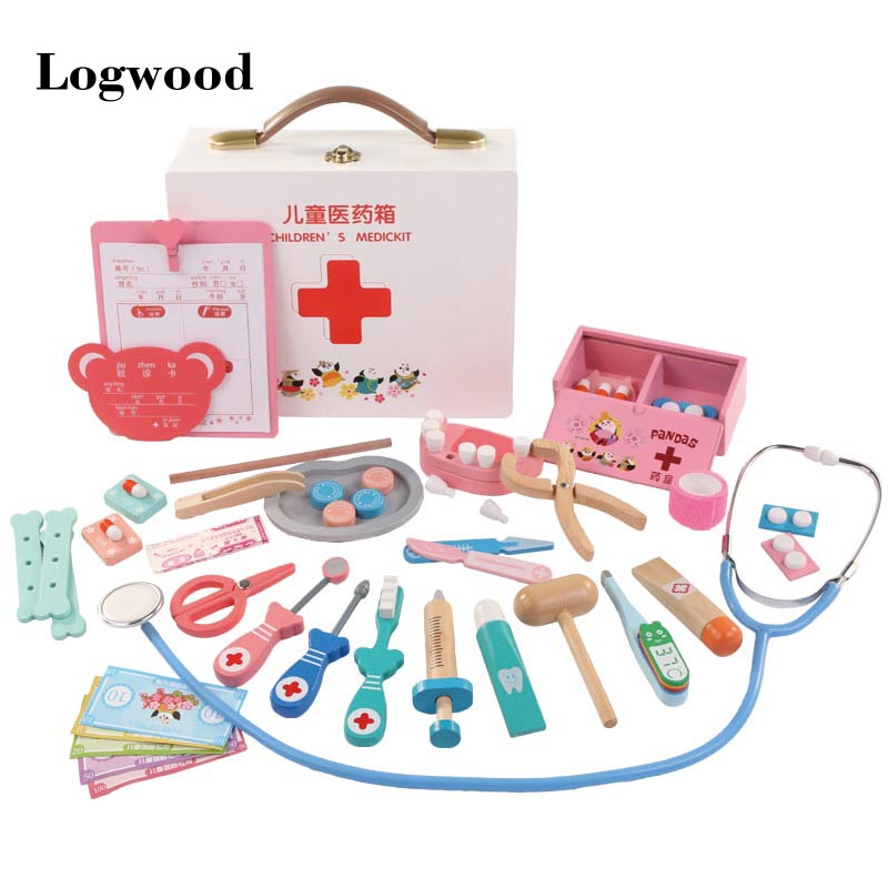 Wooden Educational Doctor Suit Toys Simulation Simulation Hospital Injection Tools Boys And Girls Role Playing Toys