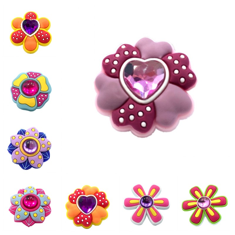 1pcs Beautiful Flower High Imitation Shoe Charms Crystal Shoes Accessories Buckles Fit Bracelets Croc Decor JIBZ Kids Gift