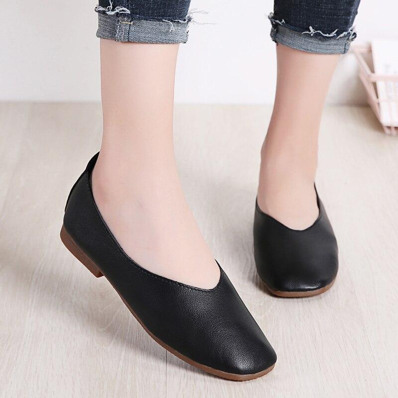 Image 4 - STQ Autumn Women Flats Genuine Leather Shoes Ladies Loafers Slip on Platform Shoes Female Walking Boats Shoes Female YY618Womens Flats   -