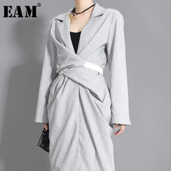 [EAM] Women Gray Knot Pleated Stitch Elegant Dress New V-collar Long Sleeve Loose Fit Fashion Tide Spring Autumn 2020 1W48502