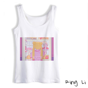 2020 Summer New Fashion Sleeveless Kawaii T Shirt Vogue Funny Sailor Moon Print Women's Tee Vogue Aestetic Casual White Tank Top(China)