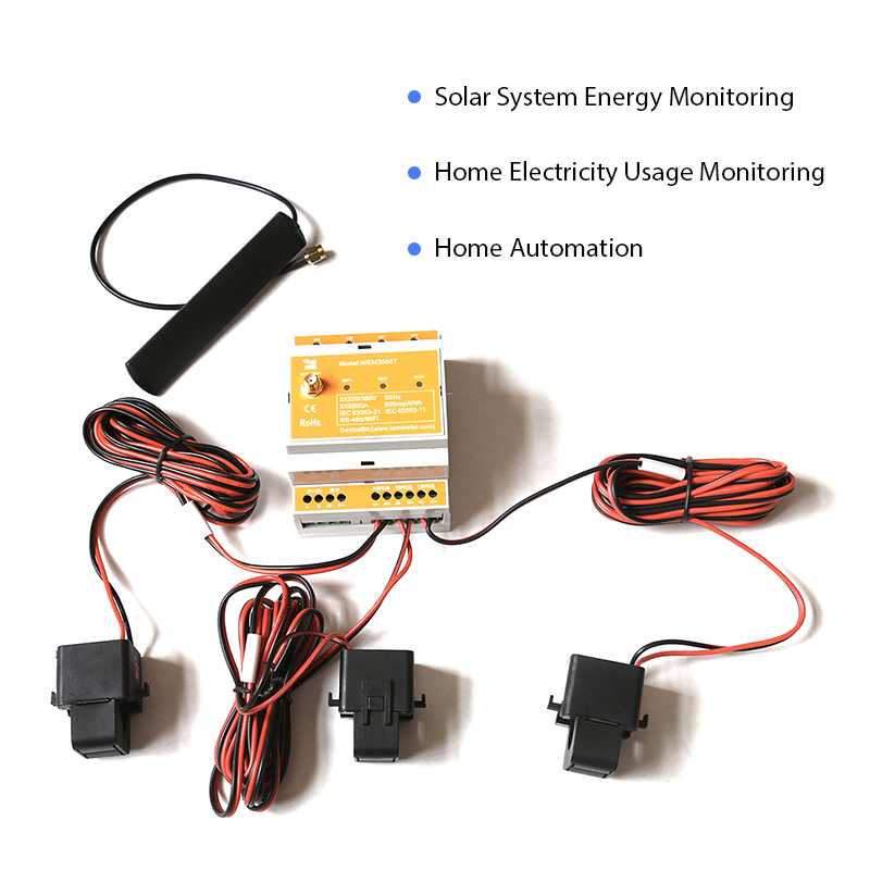 Bi-directional Three Phase WiFi Energy Meter,150A,Din Rail,Home-Assistant,openHAB,NodeRED, Solar System