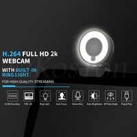 Cámara Web de enfoque automático 60FPS, 1080P, 2K, HD, para PC, portátil, anillo con ordenador con diseño de micrófono, trípode ligero, web cam para Steam OBS
