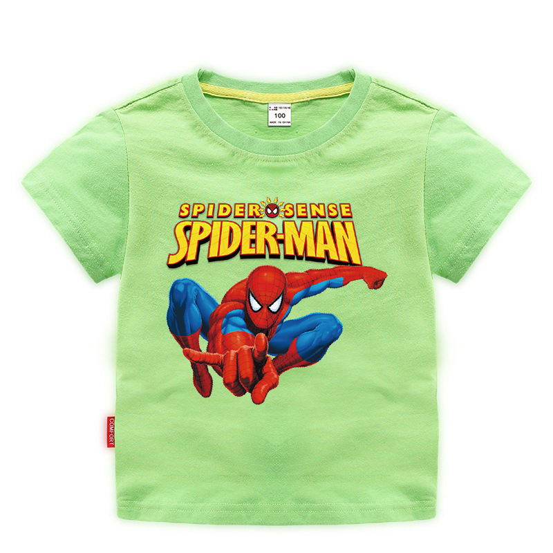 Disney Baby Spiderman T-shirt Childrens Boys Tops Girls custom Clothing T-shirt Kids Cartoon Short Sleeve Tee Clothes Summer New 1