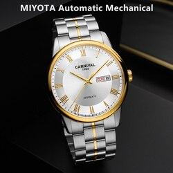Szwajcaria karnawał mechaniczny zegarek mężczyźni luksusowej marki MIYOTA automatyczne zegarki męskie sapphire wodoodporny zegar pełna stal relogio