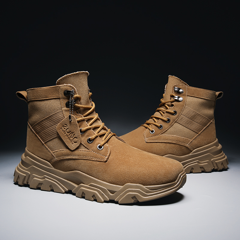 VastWave Genuine Suede Leather Safety Work Boots Army Boot Mens Soldier Ankle Boot Canvas Webbing Man's Military Boot Male Shoes