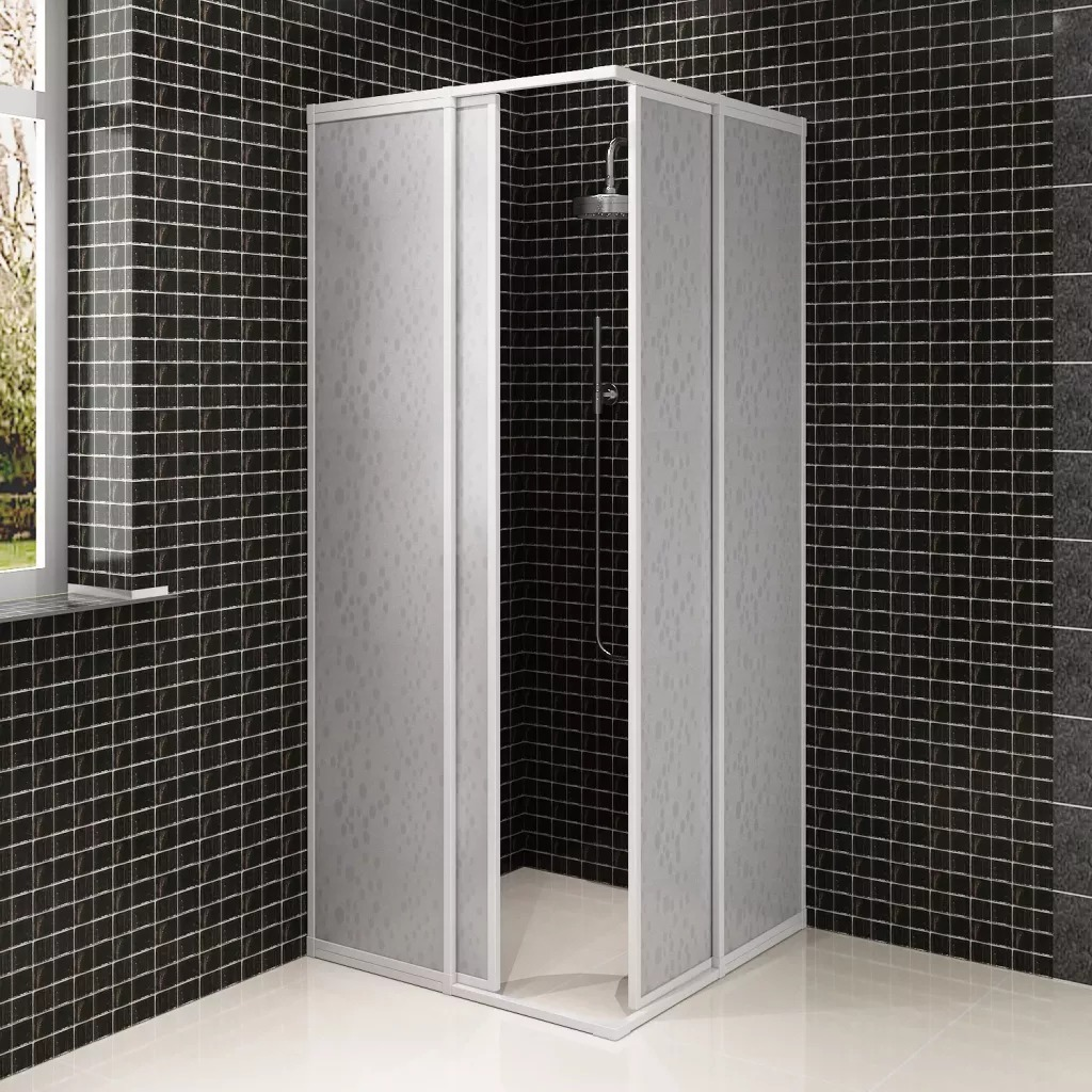 VidaXL Shower Bath Screen Wall 2 Fixed Panels 2 Sliding Doors Foldable Aluminum Frame Bath Screen 80 X 80 Cm For Bathroom SV3