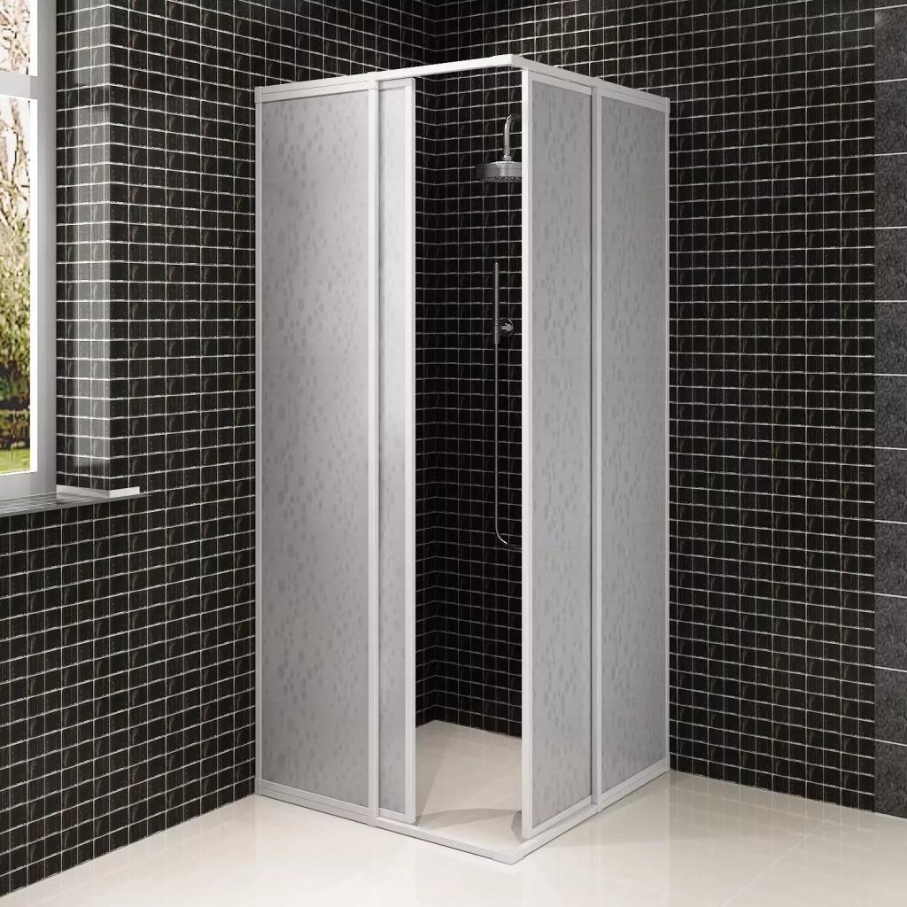 VidaXL Shower Bath Screen Wall 2 Fixed Panels 2 Sliding Doors Foldable Aluminum Frame Bath Screen 80 X 80 Cm For Bathroom SV3