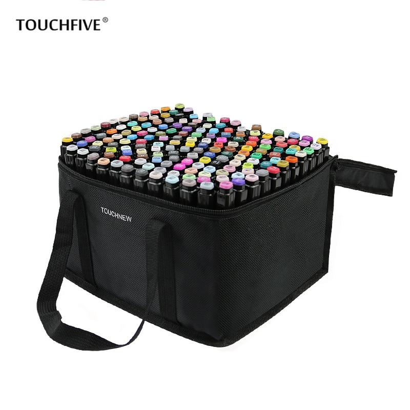 Набор художественных маркеров TOUCHFIVE, 30/40/60/80/168 цветов, скетч-маркеры для рисования манги, чернила на спиртовой основе, кисть, ручка-кисть с дв...