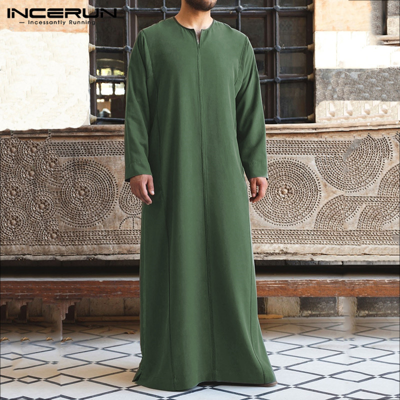 Jubba Thobe Men Solid Color Muslim Arabic Islamic Kaftan Long Sleeve V Neck Robes Dubai Middle East Abaya Men Clothing INCERUN