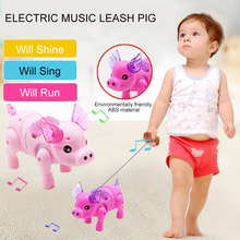 цены Electric Toy Children Cute Moving Rope Piglet Cute Creative Music Luminous Walking Piglet Pig Electric Pig Children'S Toys