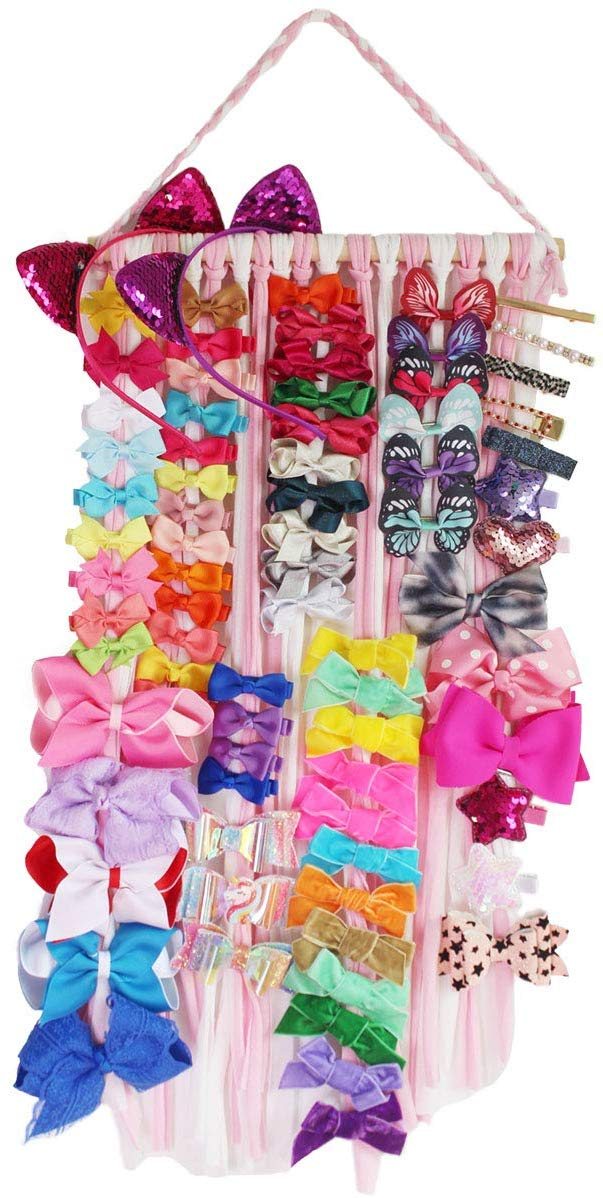 Hair Bow Holder Organizer Baby Hair Accessories Storage Display For Baby Girls Room Door Wall