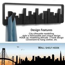 Wall Mount Multipurpose Hook Sturdy Storage Pastoral Style Black Coat Hanger Durable Cityscape Art Clothes Hanger Decorative