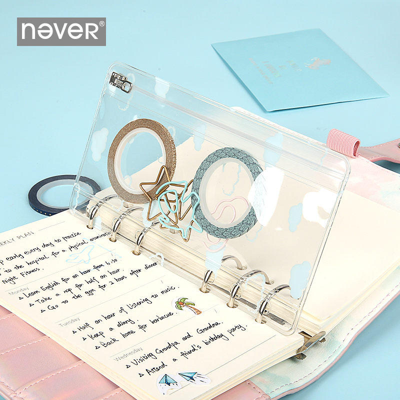 Never Unicorn Series Spiral Notebook And Journals Transparent PVC Storage Zipper Bag A6 Planner File Bag Accessories Stationery