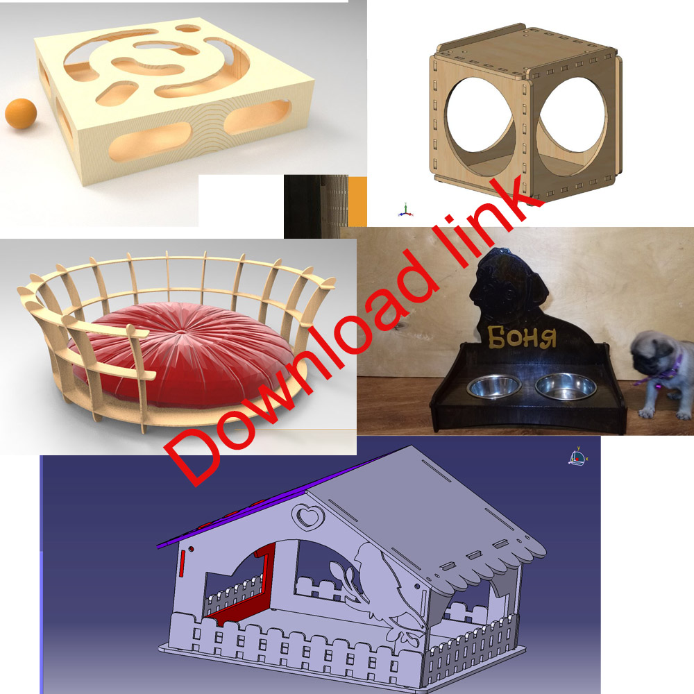 42 Files, Kennel, Cat Nest, Dog Hole, Birdhouse, Pets Den Nest Vector Design Drawing Files For CNC Laser Cutting Files