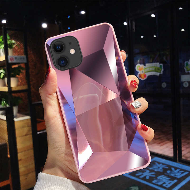 Diamante 3d espelho capa traseira para iphone 11 pro caso para iphone x xr xs max 8 7 6 s plus caso para iphone 11 pro max 6.5 polegada